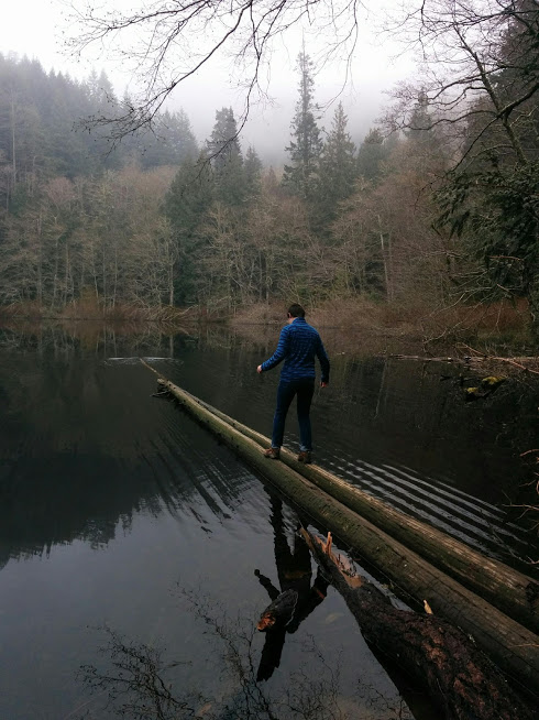Woman balancing on two logs sticking into a lake.