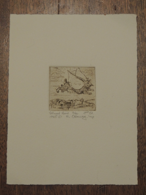 Etching of Winged Hare, by Helen Ottaway