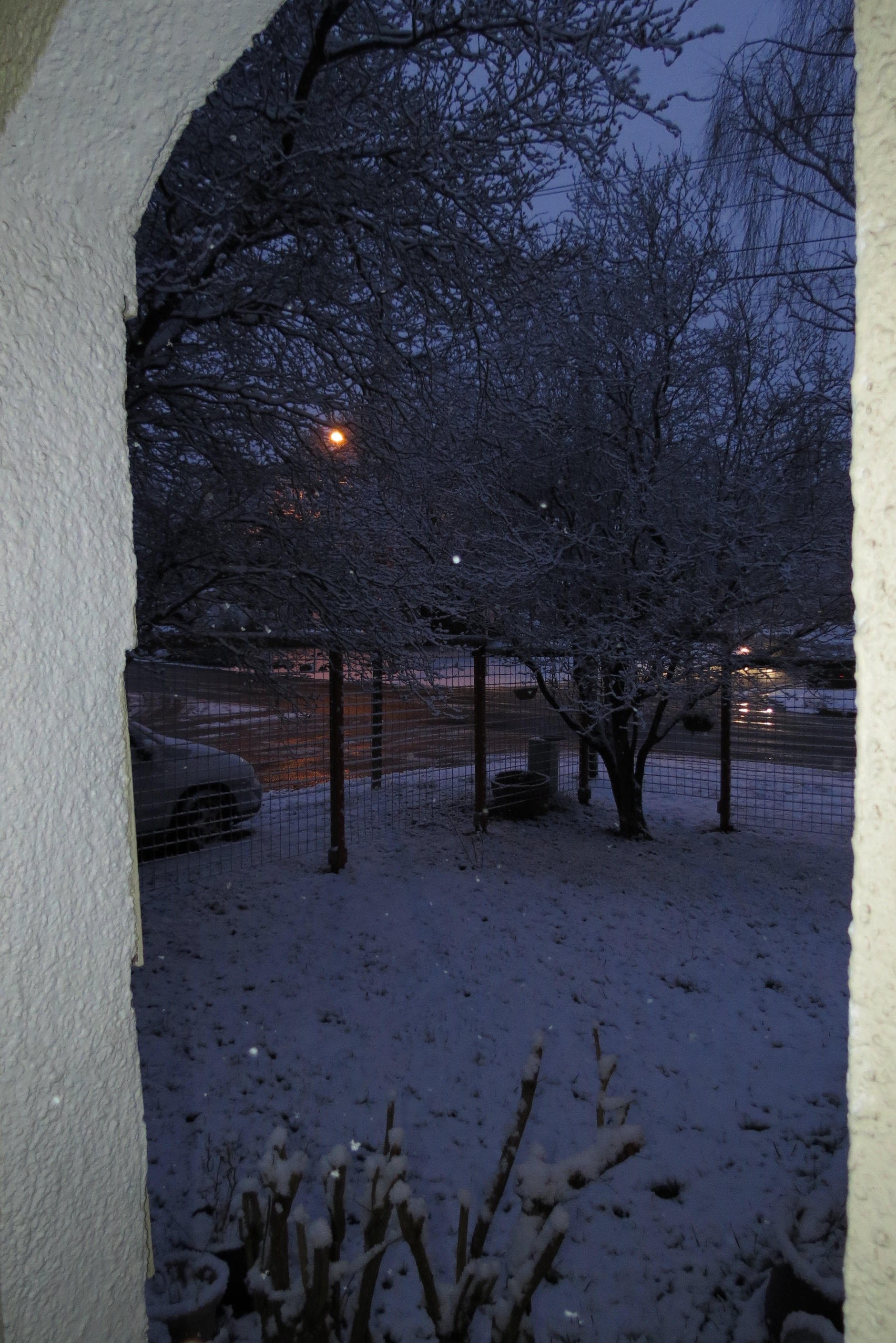 evening light looking through arch at a snow covered yard, all tones of blue.